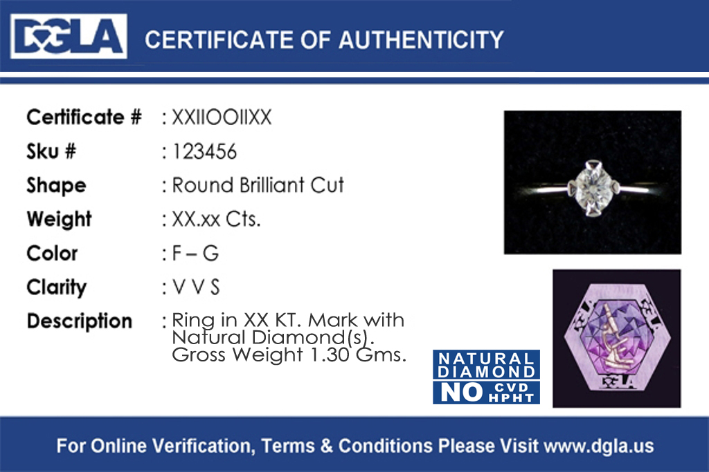 Diamond gem laboratories of america certificate number shape weight clarity color yadclub Gallery
